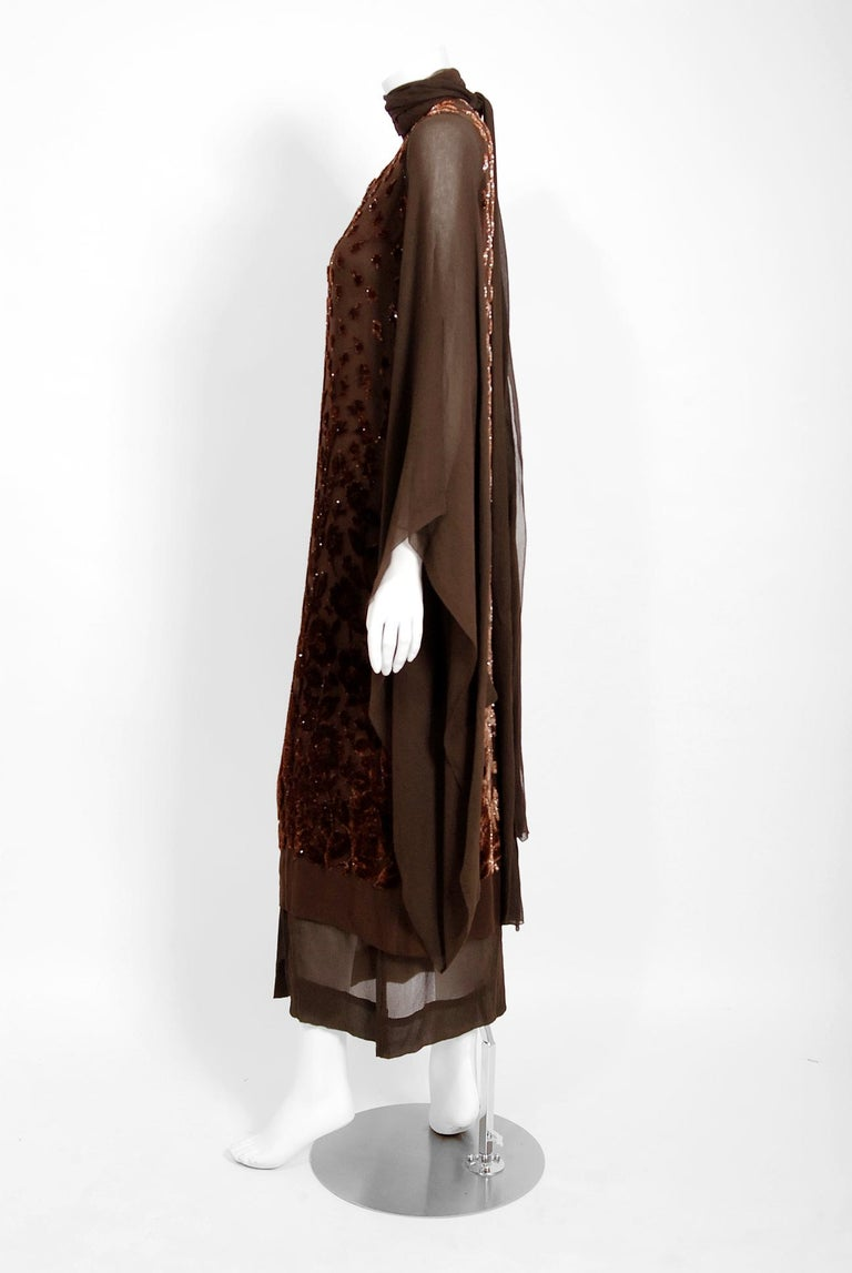 1969 Christian Dior Haute-Couture Brown Floral Flocked Silk Kimono Sleeve Gown For Sale 1