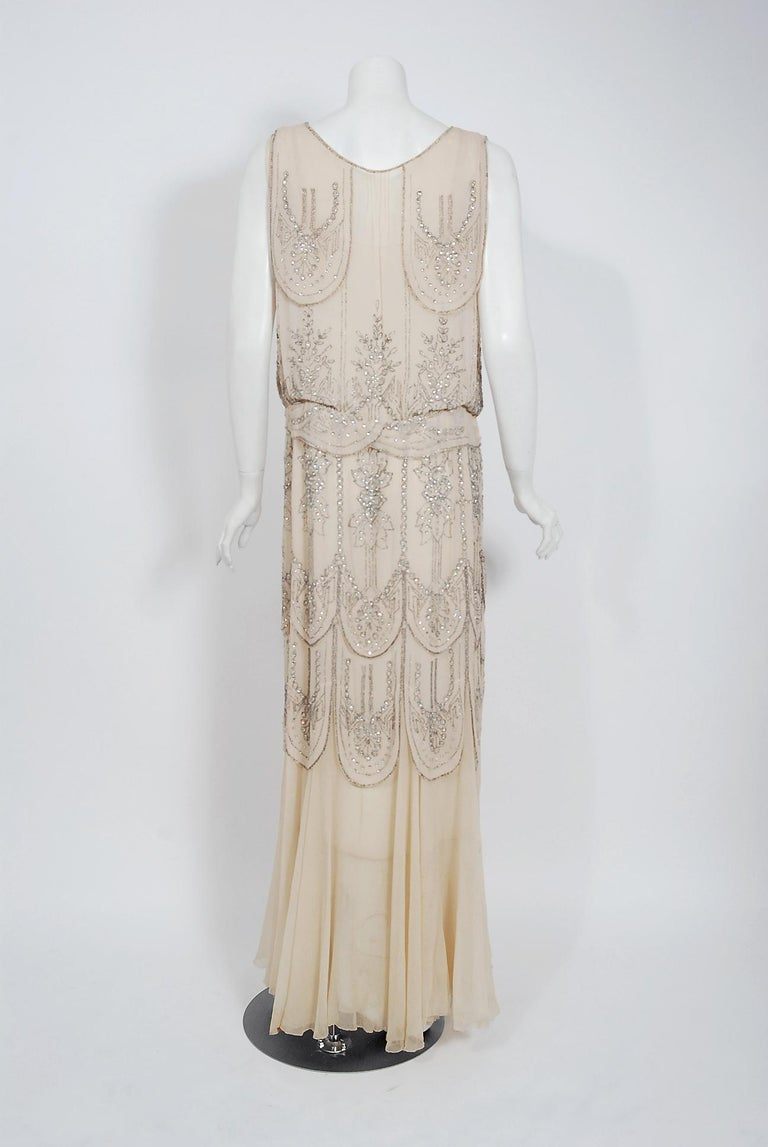 1930's French Couture Creme Silk-Chiffon Beaded Rhinestone Scalloped Deco Gown For Sale 3