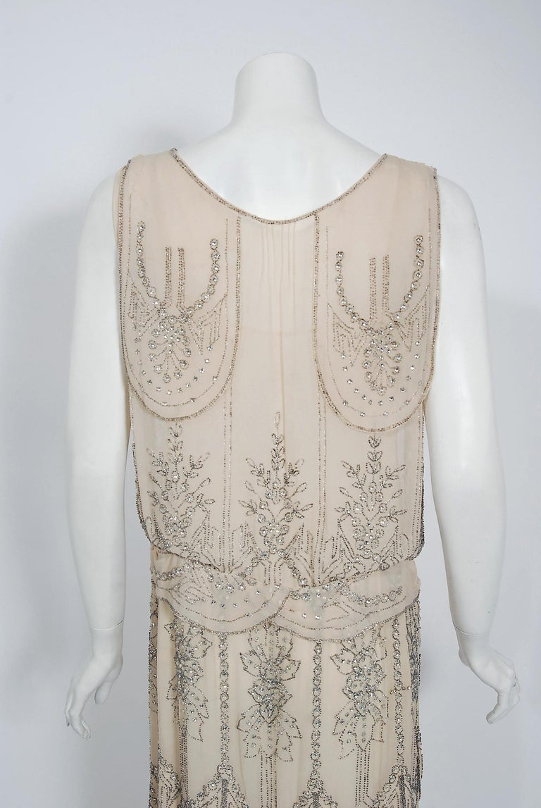 1930's French Couture Creme Silk-Chiffon Beaded Rhinestone Scalloped Deco Gown For Sale 2