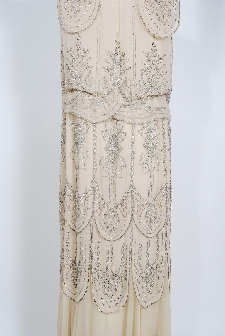 1930's French Couture Creme Silk-Chiffon Beaded Rhinestone Scalloped Deco Gown In Good Condition For Sale In Beverly Hills, CA