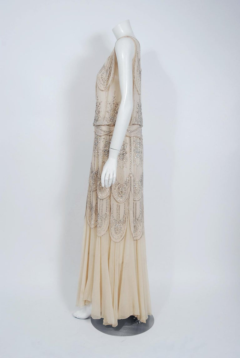 1930's French Couture Creme Silk-Chiffon Beaded Rhinestone Scalloped Deco Gown For Sale 1