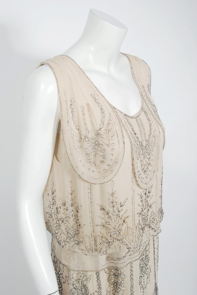 Beige 1930's French Couture Creme Silk-Chiffon Beaded Rhinestone Scalloped Deco Gown For Sale