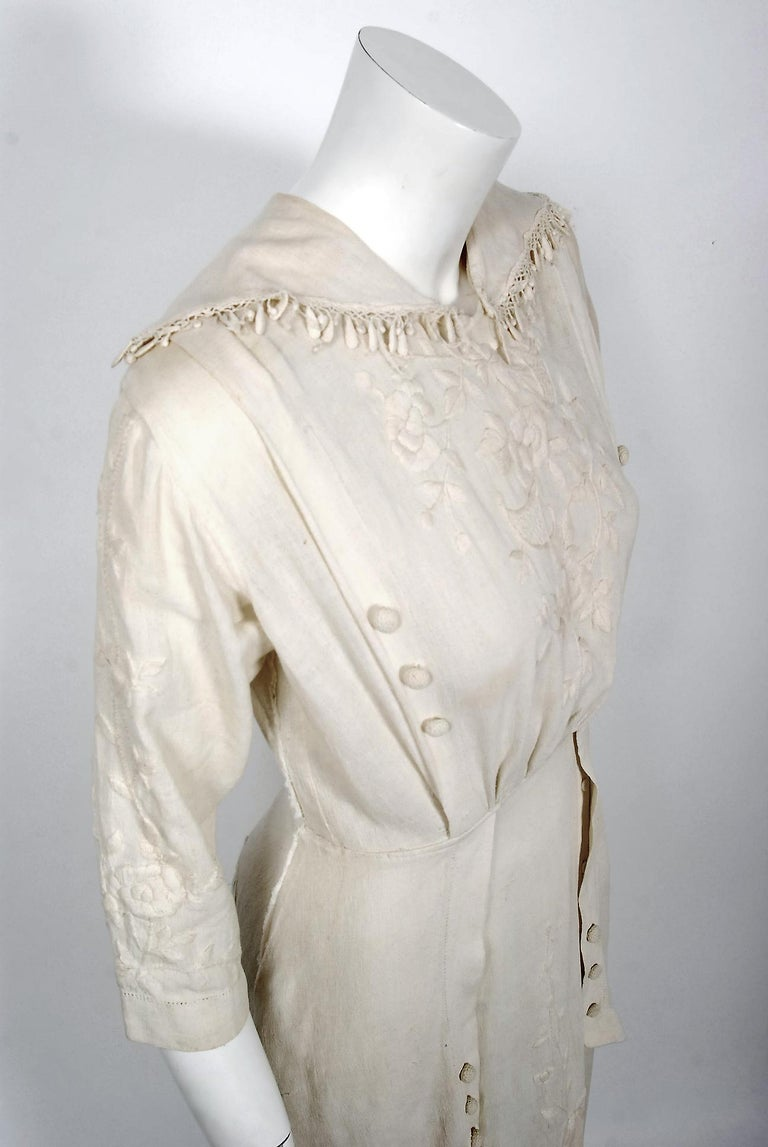 Beige 1916 Edwardian Ivory Embroidered Roses Silk Crepe Fringe Collar Tiered Gown For Sale