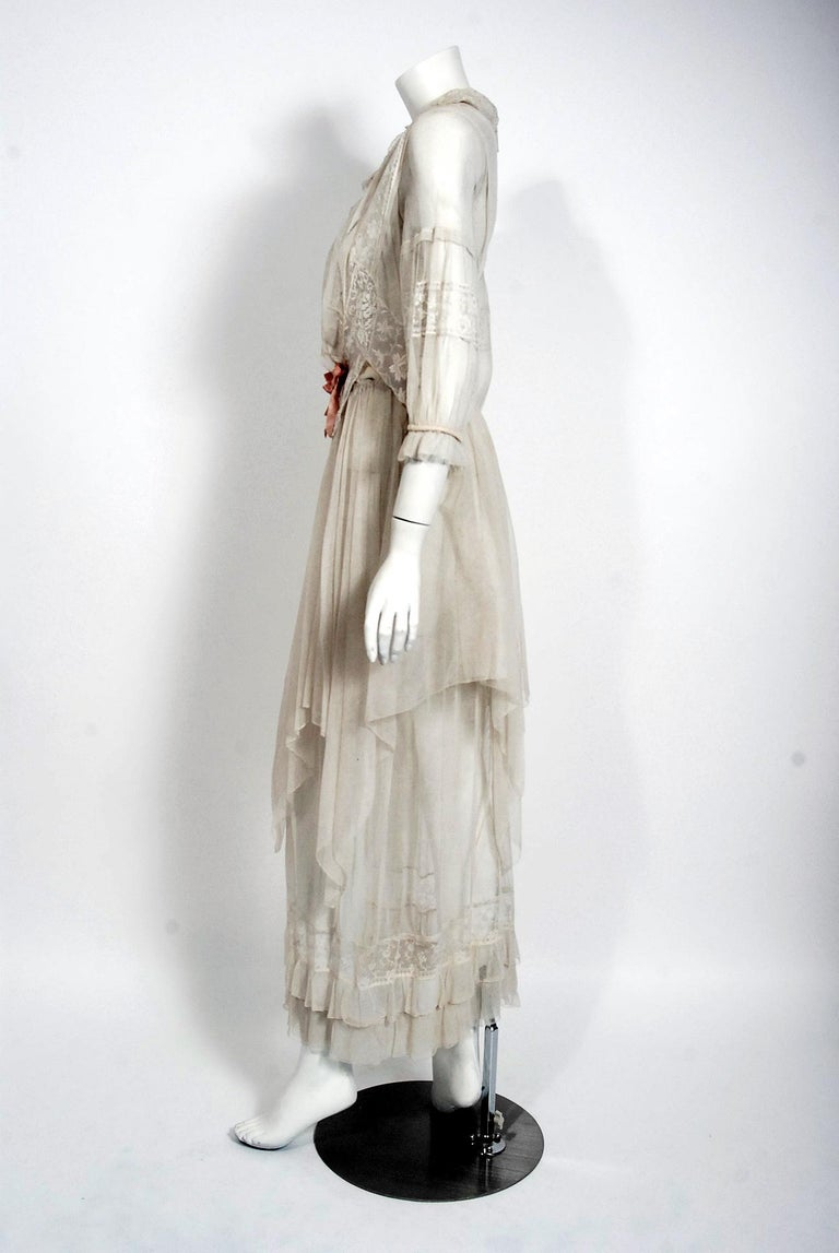 Vintage 1910's Ivory Sheer Embroidered Floral Lace & Tulle Tiered Bridal Gown  For Sale 1