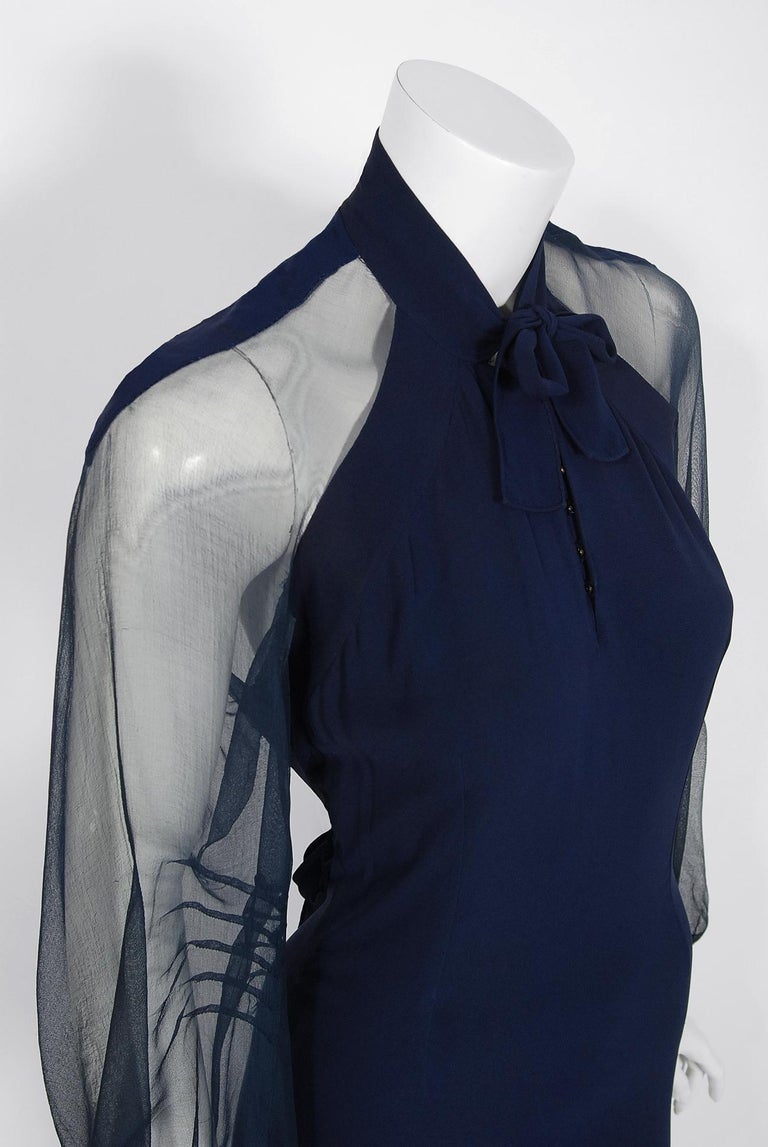 1936 Germaine Monteil Couture Movie Worn Navy Crepe Billow Sleeve Bias-Cut Gown In Good Condition For Sale In Beverly Hills, CA