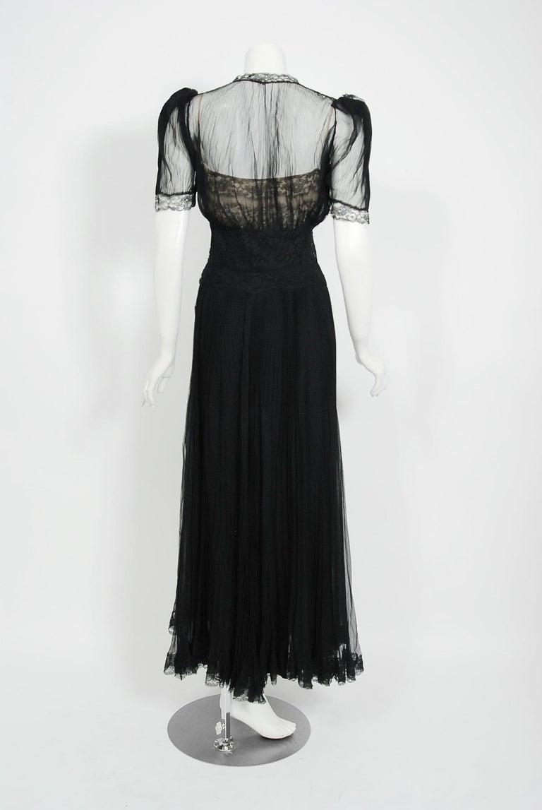 1930's Hattie Carnegie Pleated Black Chiffon & Lace Puff Sleeve Bias-Cut Dress  For Sale 3