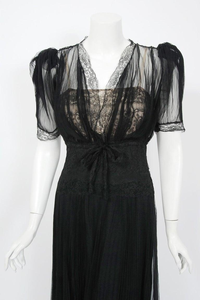 Black Vintage 1930's Hattie Carnegie Pleated Chiffon & Lace Puff Sleeve Bias-Cut Dress For Sale