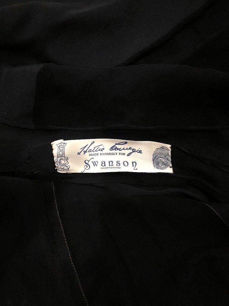 1930's Hattie Carnegie Pleated Black Chiffon & Lace Puff Sleeve Bias-Cut Dress  For Sale 5