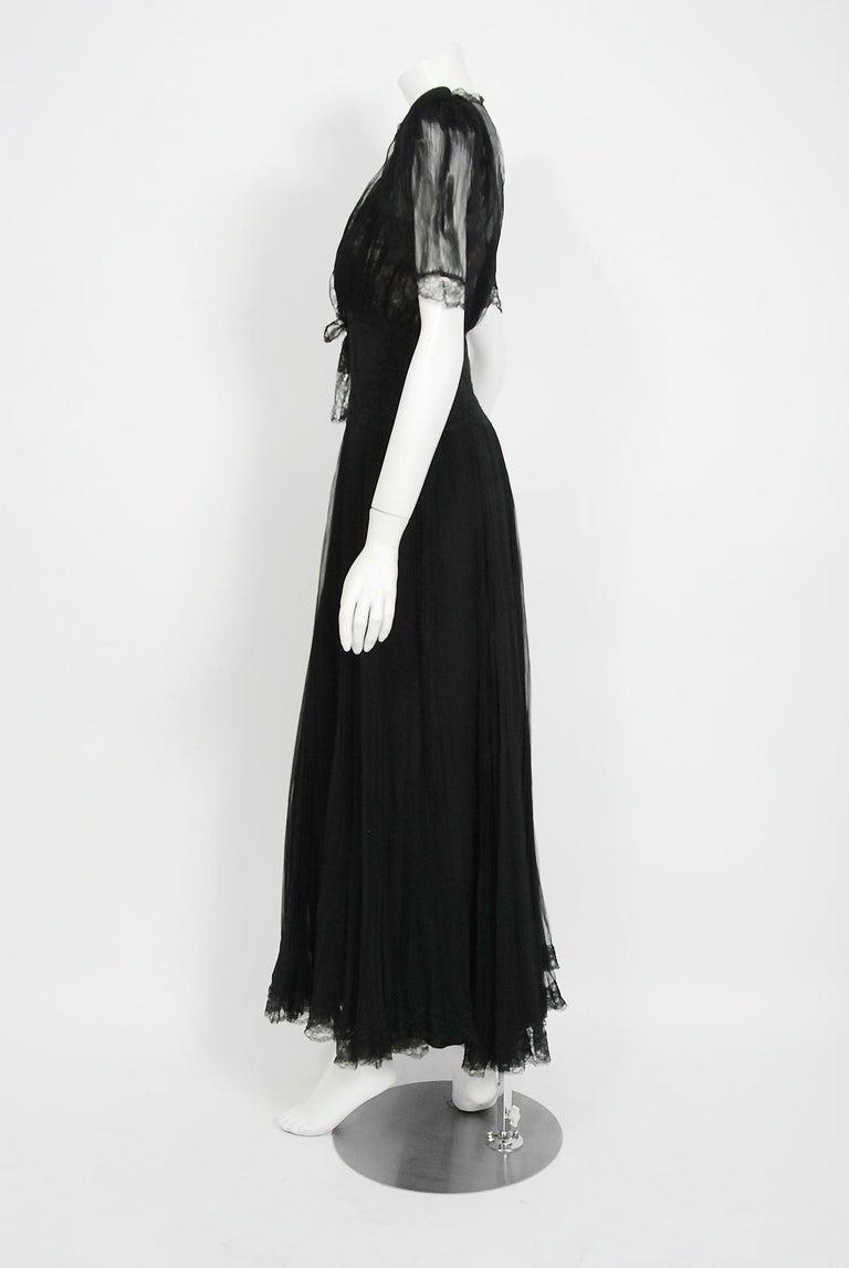 1930's Hattie Carnegie Pleated Black Chiffon & Lace Puff Sleeve Bias-Cut Dress  For Sale 2