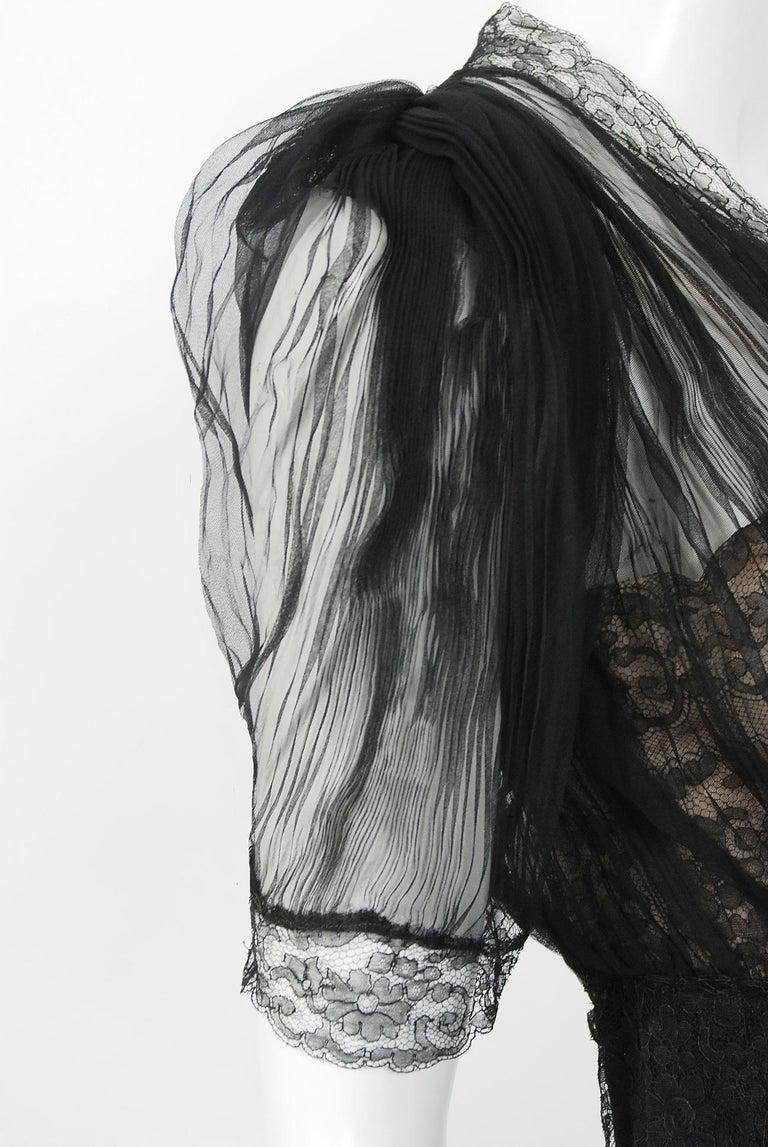 1930's Hattie Carnegie Pleated Black Chiffon & Lace Puff Sleeve Bias-Cut Dress  For Sale 1