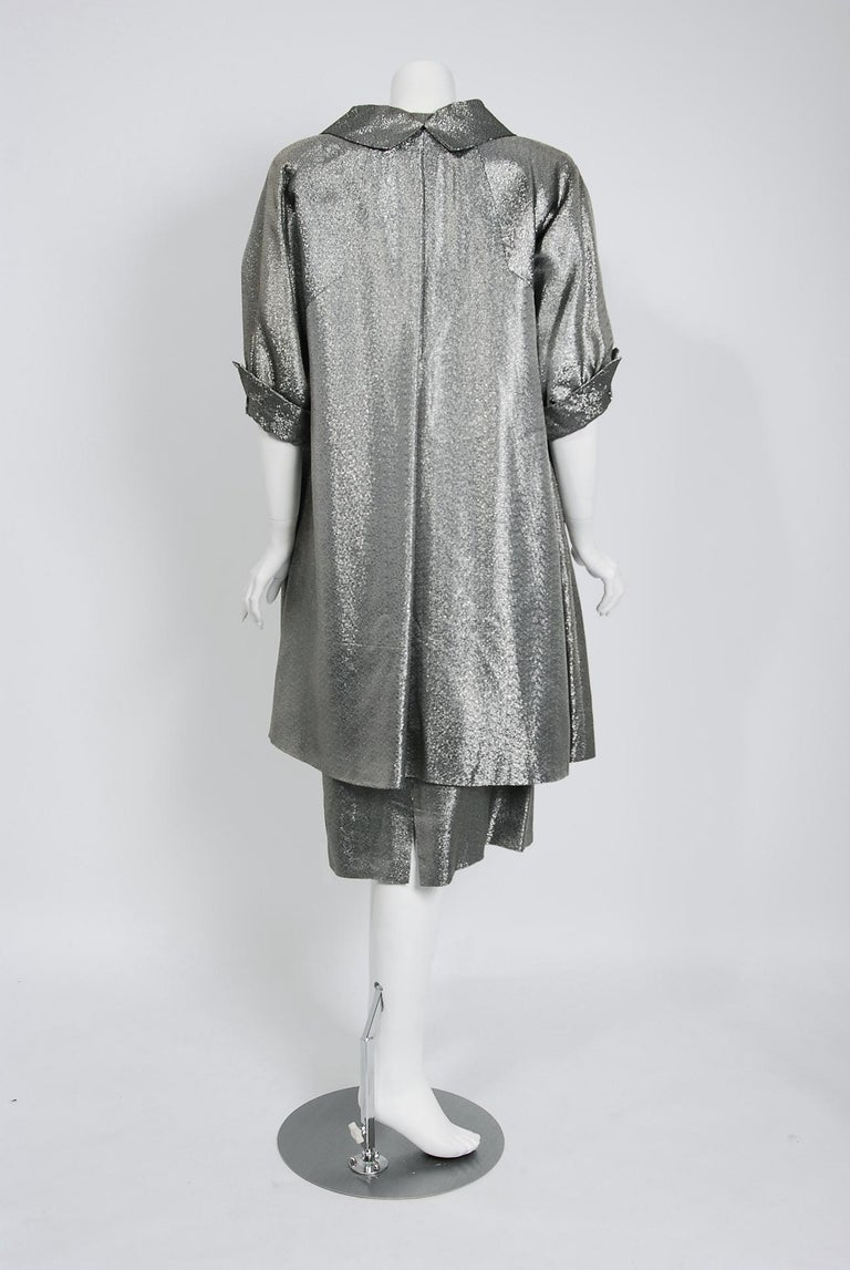 1950's Lilli Diamond Metallic Silver Lamé Beaded Strapless Dress & Swing Jacket For Sale 6