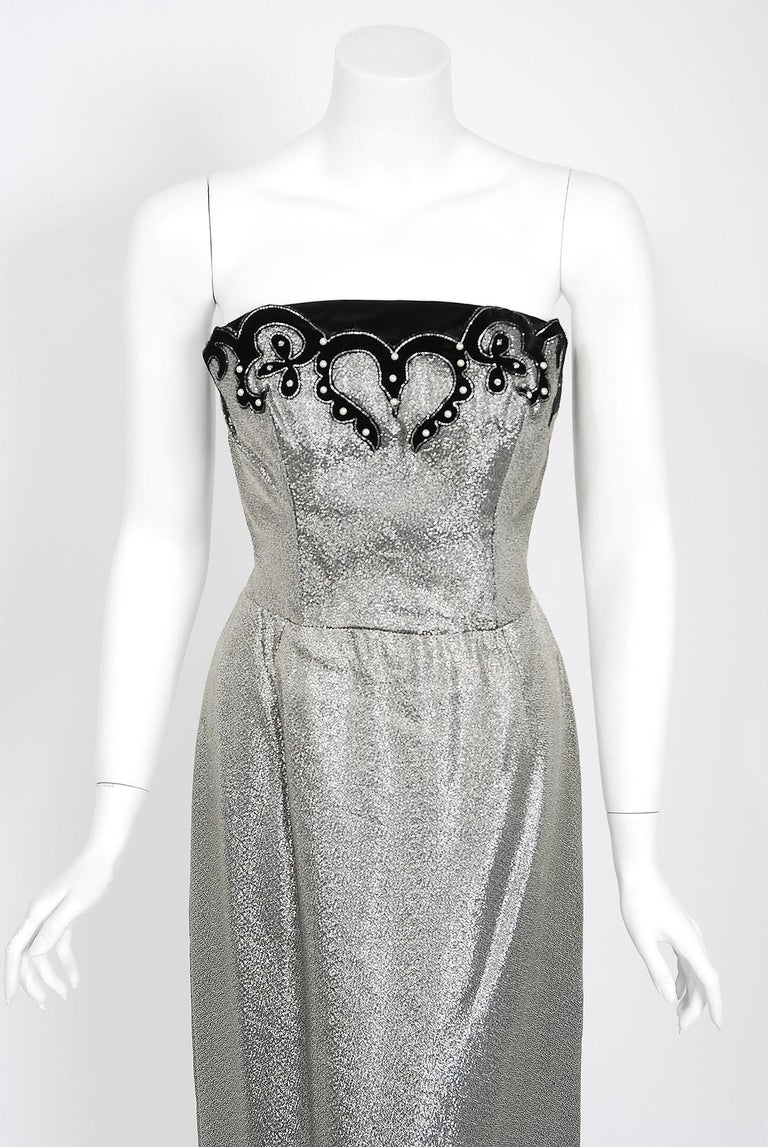 1950's Lilli Diamond Metallic Silver Lamé Beaded Strapless Dress & Swing Jacket In Excellent Condition For Sale In Beverly Hills, CA