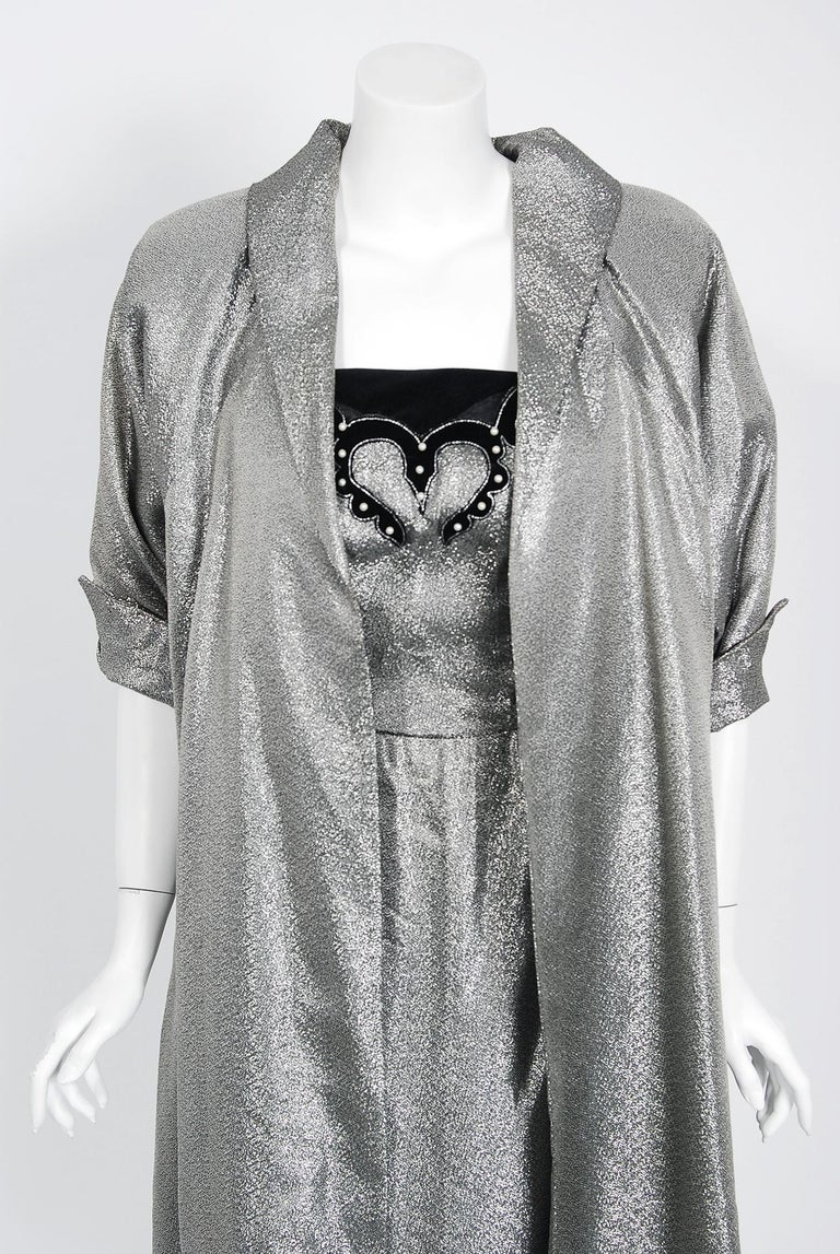 1950's Lilli Diamond Metallic Silver Lamé Beaded Strapless Dress & Swing Jacket For Sale 3