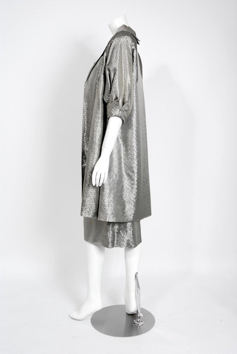 1950's Lilli Diamond Metallic Silver Lamé Beaded Strapless Dress & Swing Jacket For Sale 4