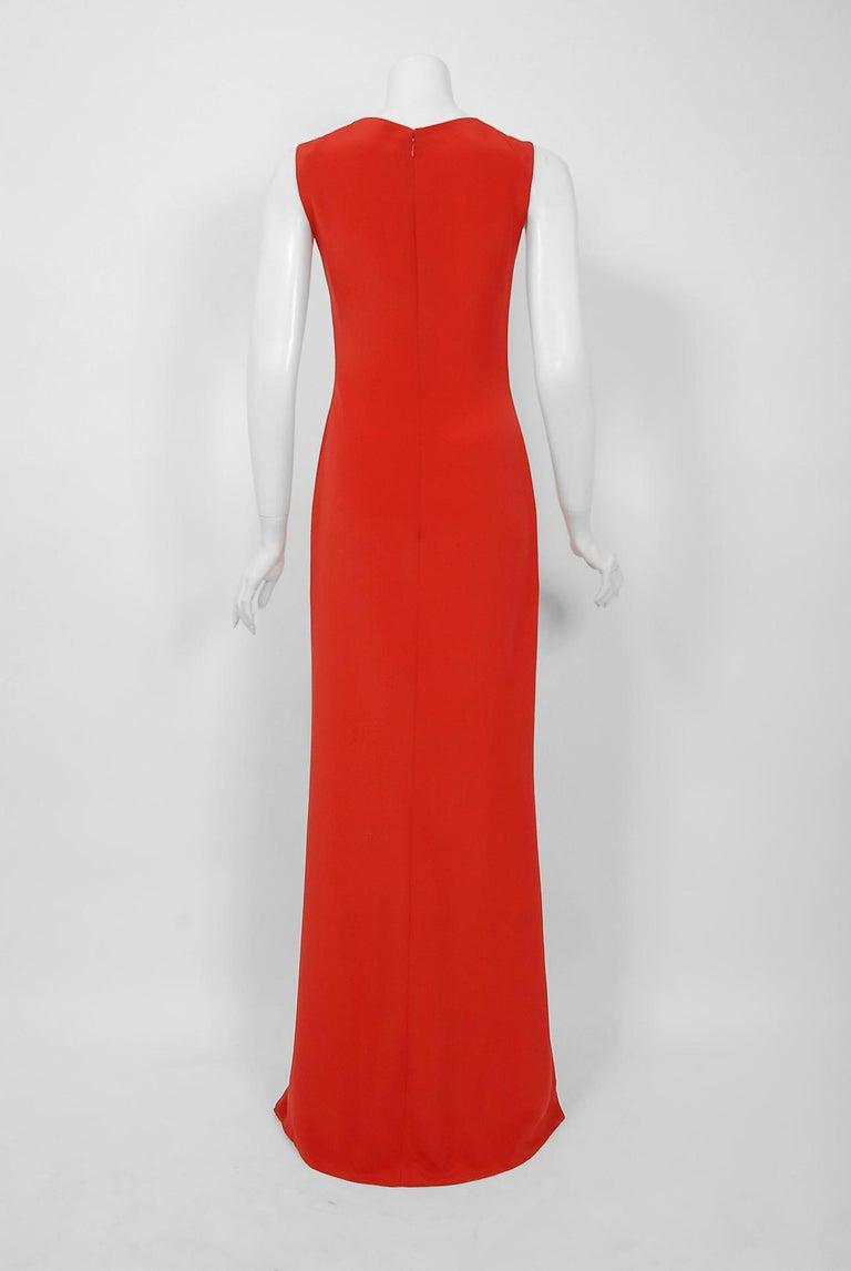 1990 Bill Blass Poppy Red Silk Asymmetric Bias-Cut High Slit Gown w/Tags  For Sale 2