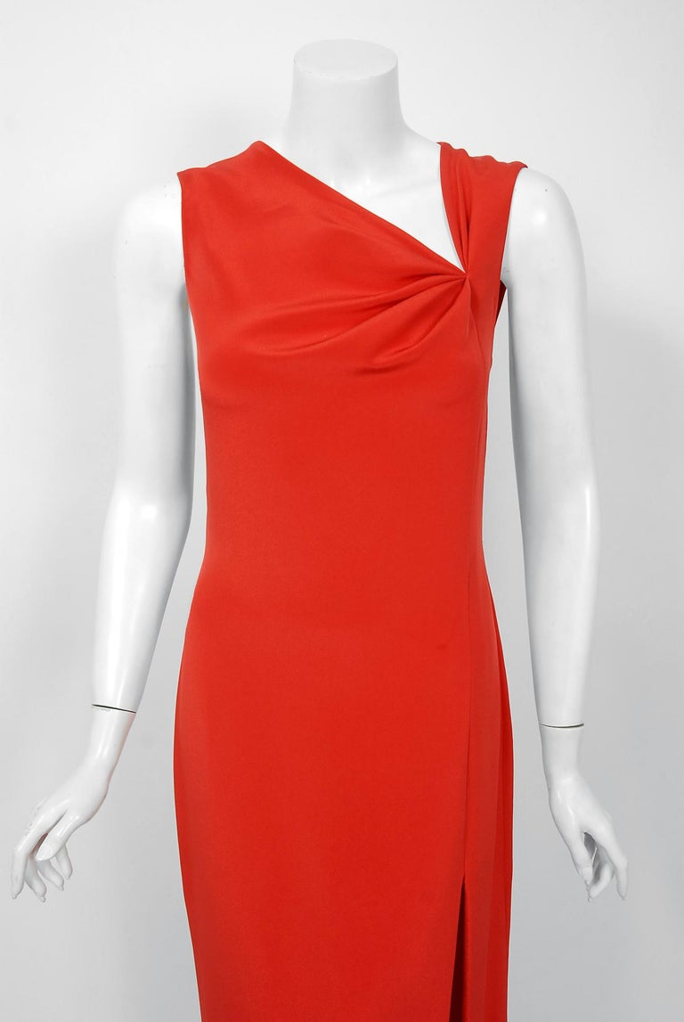1990 Bill Blass Poppy Red Silk Asymmetric Bias-Cut High Slit Gown w/Tags  In Excellent Condition For Sale In Beverly Hills, CA