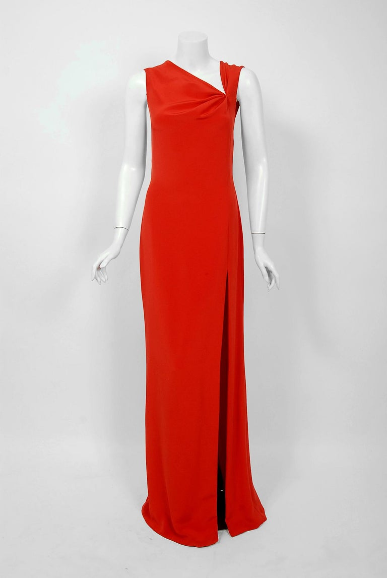 Vintage 1990 Bill Blass Poppy Red Silk Asymmetric Bias-Cut High Slit Gown w/Tags In Good Condition For Sale In Beverly Hills, CA