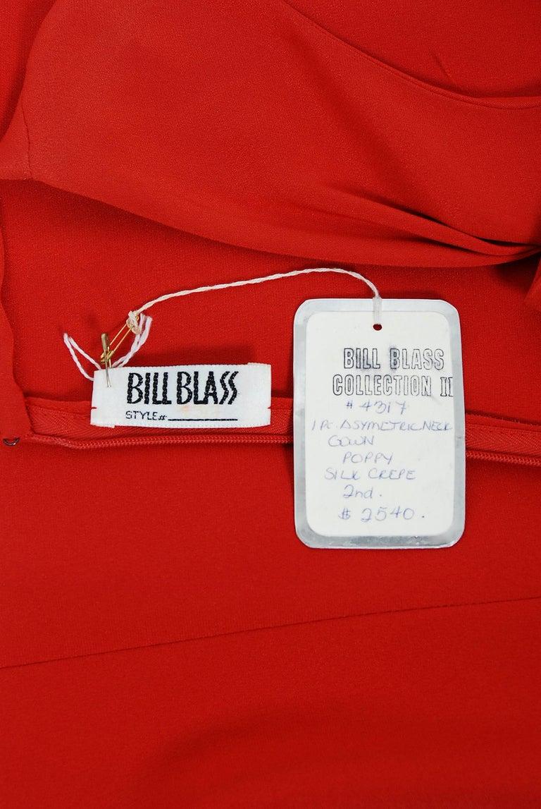 1990 Bill Blass Poppy Red Silk Asymmetric Bias-Cut High Slit Gown w/Tags  For Sale 3