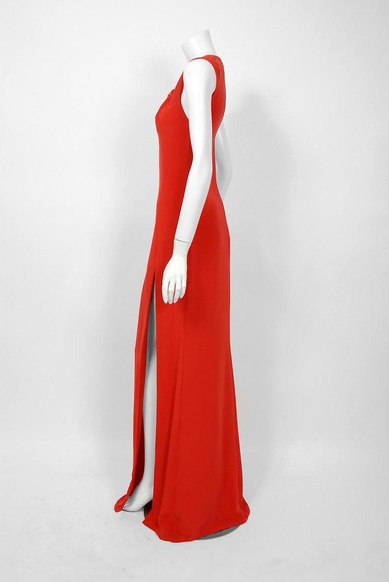 1990 Bill Blass Poppy Red Silk Asymmetric Bias-Cut High Slit Gown w/Tags  For Sale 1