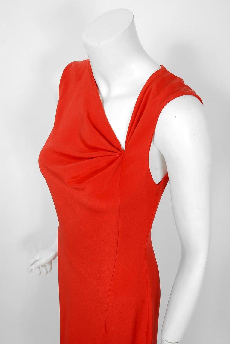 Women's 1990 Bill Blass Poppy Red Silk Asymmetric Bias-Cut High Slit Gown w/Tags  For Sale