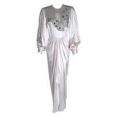 1970's Galanos Ivory-White Satin Beaded Butterfly Billow-Sleeves Draped Gown