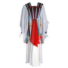 1970's Marisa Martin White Floral Chiffon Billow-Sleeve Bohemian Caftan Dress