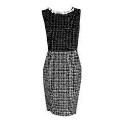 2009 Chanel Runway Black & White Plaid Applique Wool Three-Piece Suit Ensemble