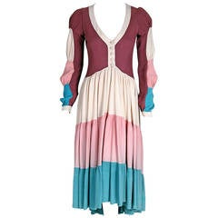 1970's Ossie Clark Couture Block-Color Tiered Pastel Moss-Crepe Plunge Dress