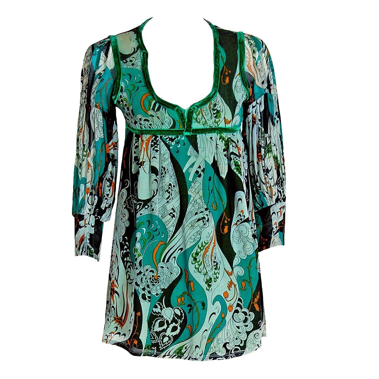1970 S Thea Porter Green Art Nouveau Cotton Billow Sleeve
