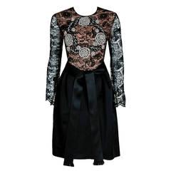 1970's Galanos Beaded Rhinestone Lace-Illusion & Satin Black Party Dress