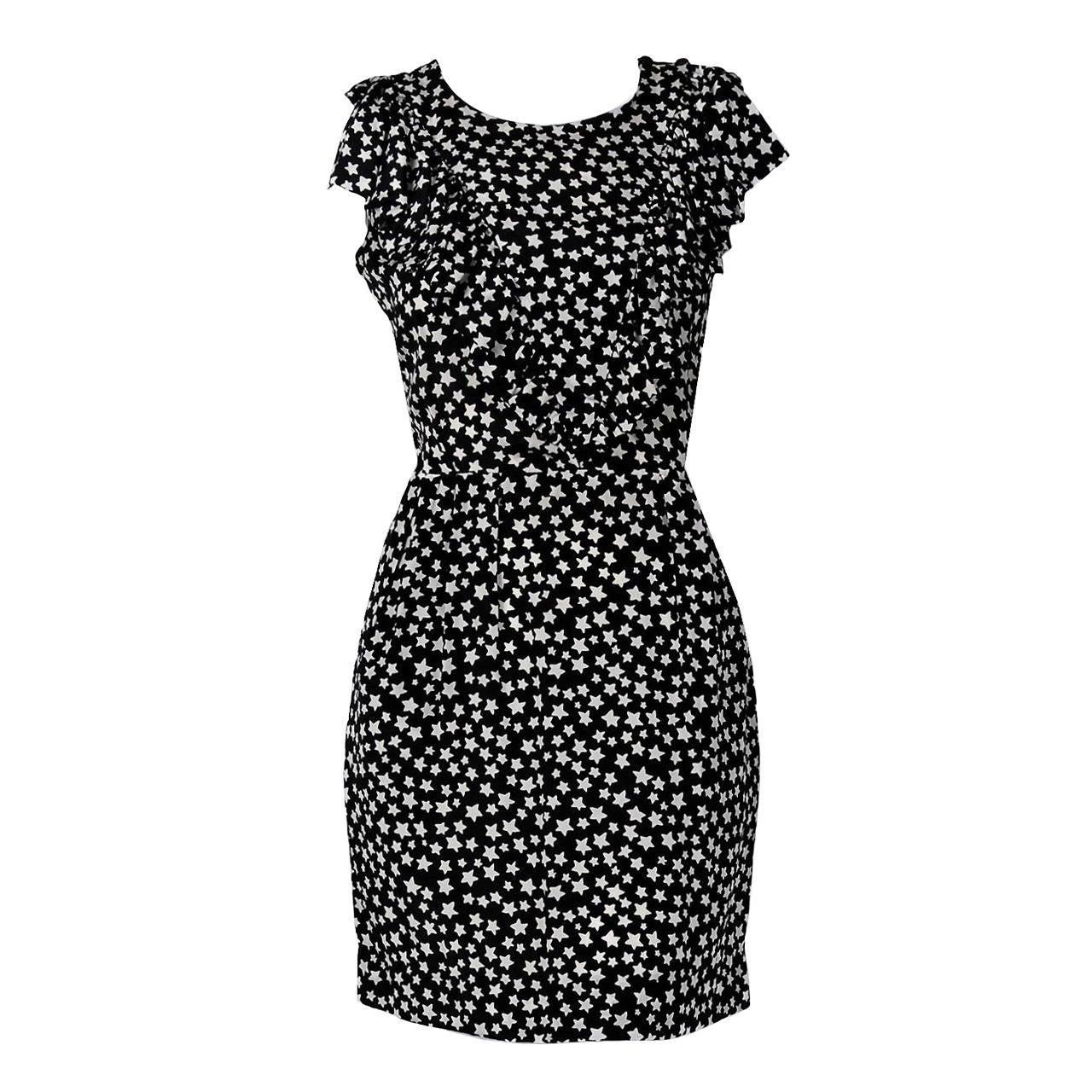01fd9170cb4 1980's Yves Saint Laurent Star-Print Novelty Silk Ruffle Sleeveless Mini  Dress For Sale
