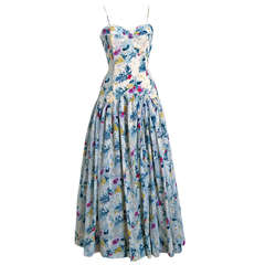 1940's Emma Domb Watercolor Floral Print Organza Full-Length Gown & Shawl