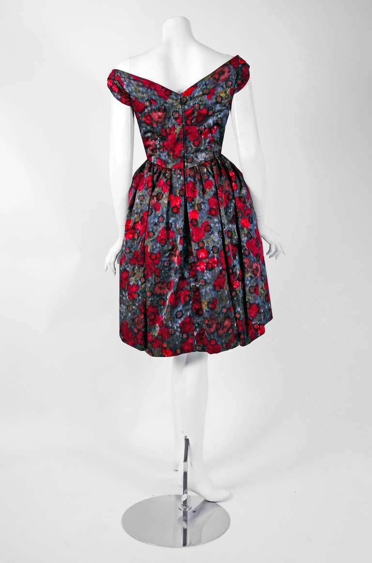 1950's Claire Schaffel Watercolor Floral-Print Silk Peplum Cocktail Party Dress 4