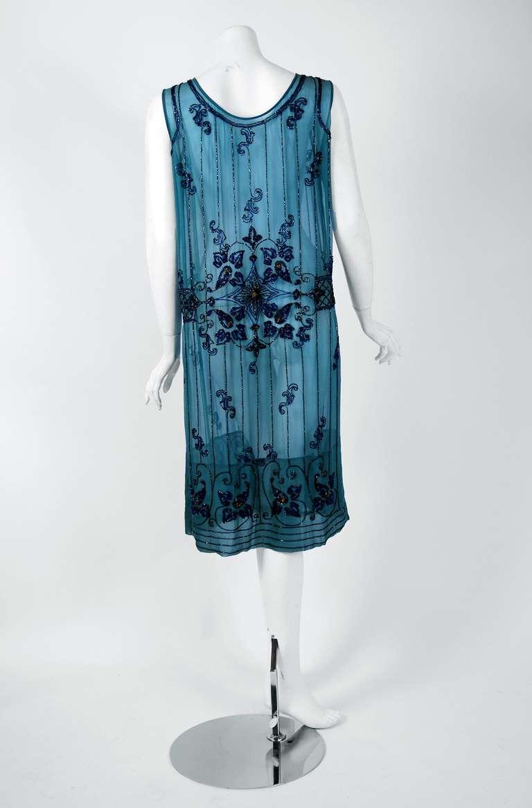 1920 S French Heavily Beaded Deco Blue Silk Chiffon Drop