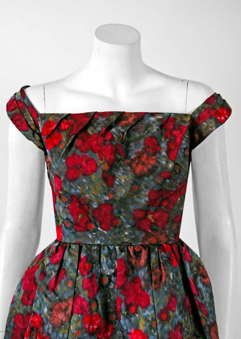 1950's Claire Schaffel Watercolor Floral-Print Silk Peplum Cocktail Party Dress 2