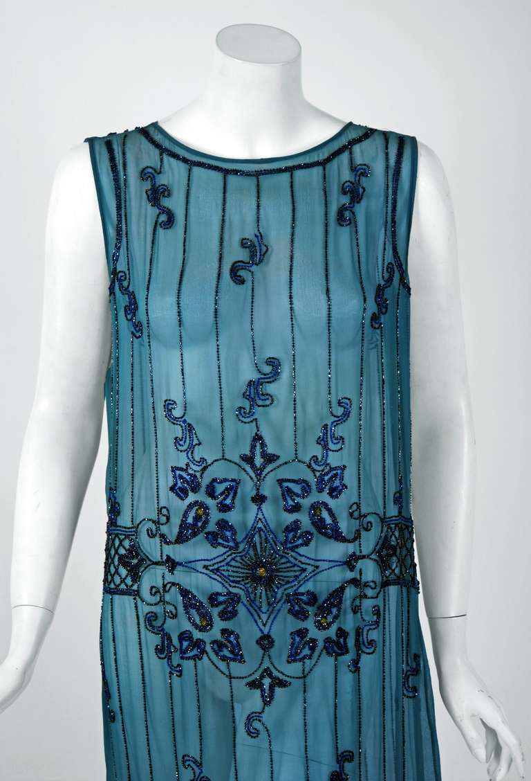 1920 S French Heavily Beaded Deco Blue Silk Chiffon Drop