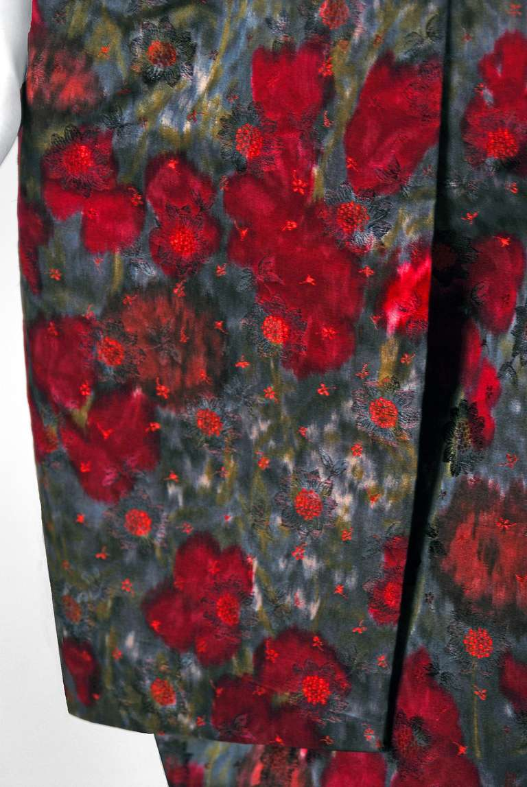 1950's Claire Schaffel Watercolor Floral-Print Silk Peplum Cocktail Party Dress 3