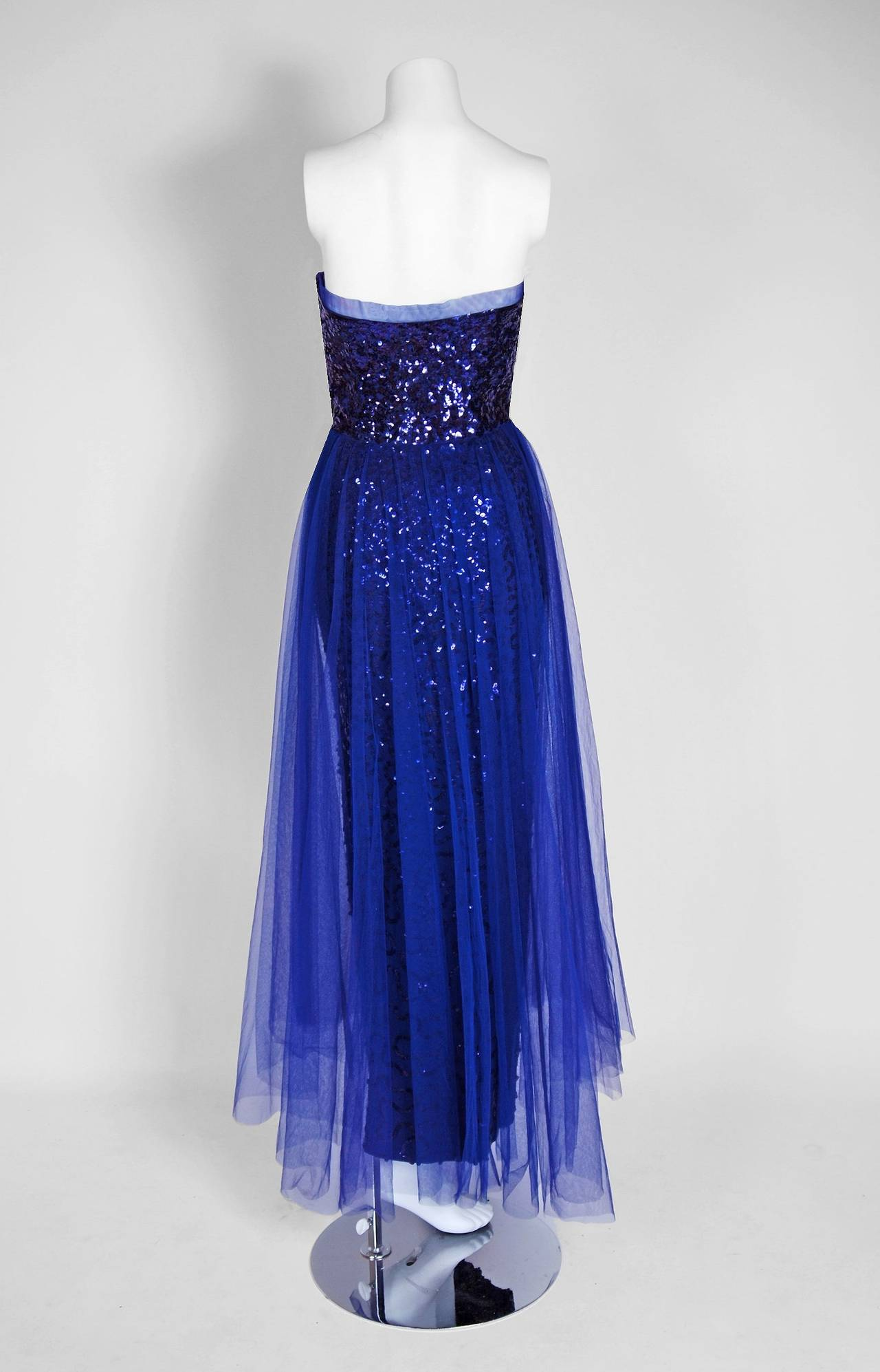 Women's 1950's Seductive Royal-Blue Sequin Rayon-Crepe Strapless Trained Evening Gown For Sale