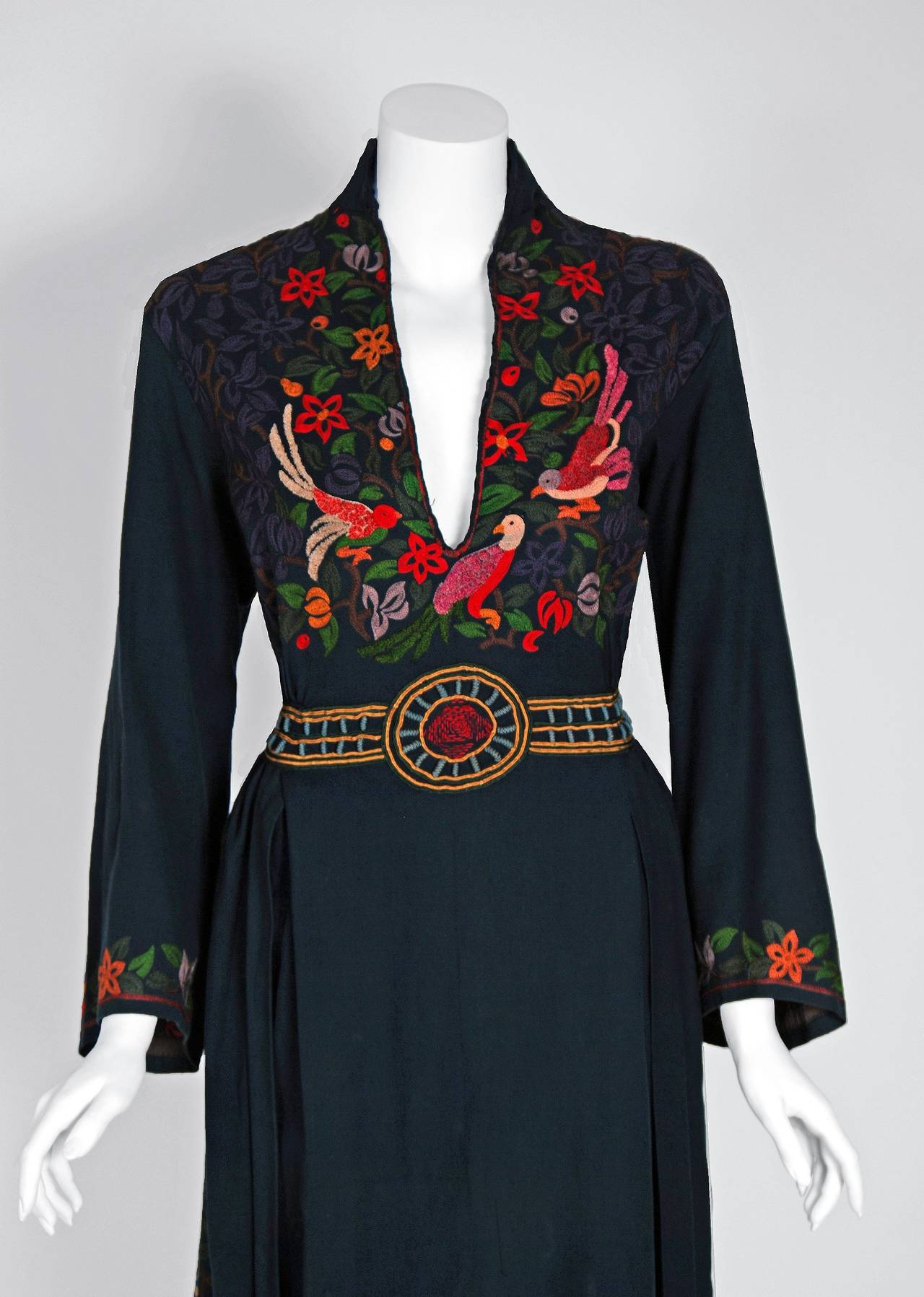 1920's Colorful Bird-Garden Novelty Embroidered Cotton Bohemian Ethnic Dress 2