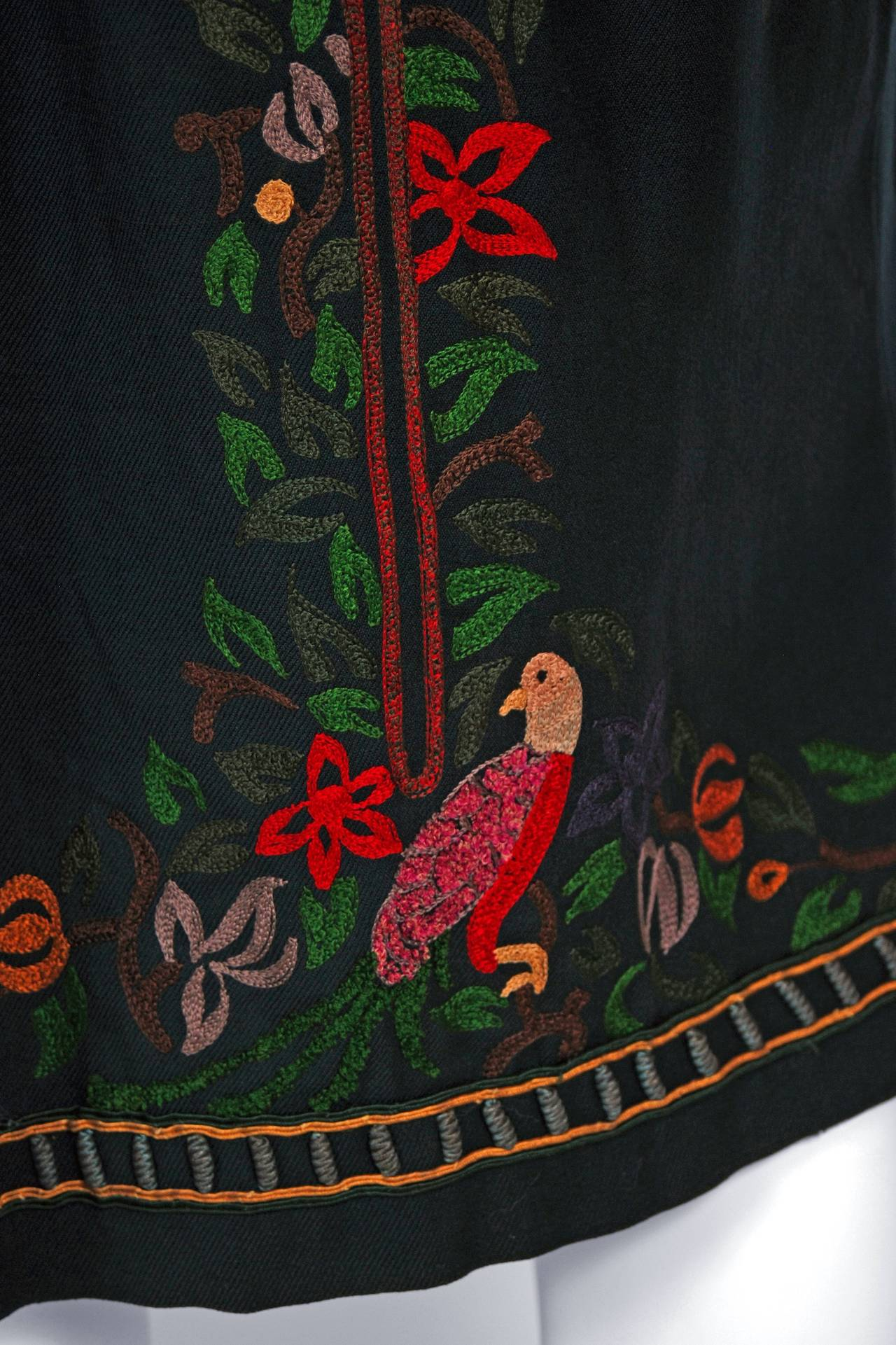 1920's Colorful Bird-Garden Novelty Embroidered Cotton Bohemian Ethnic Dress 5