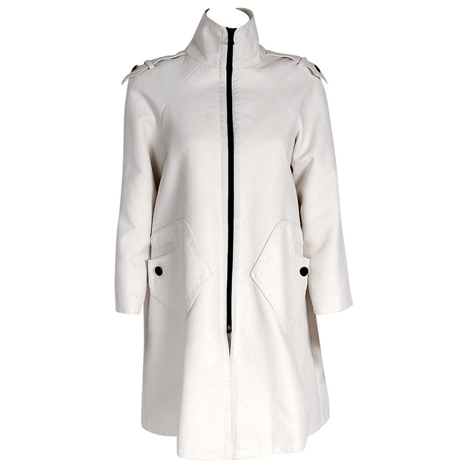 1968 Pierre Cardin Ivory White Cotton-Twill Mod Space-Age Pockets Trench Jacket 1