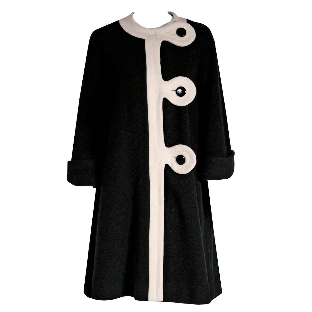 1960's Pierre Cardin Black & Ivory Block-Color Wool Mod Space-Age Swing Coat For Sale