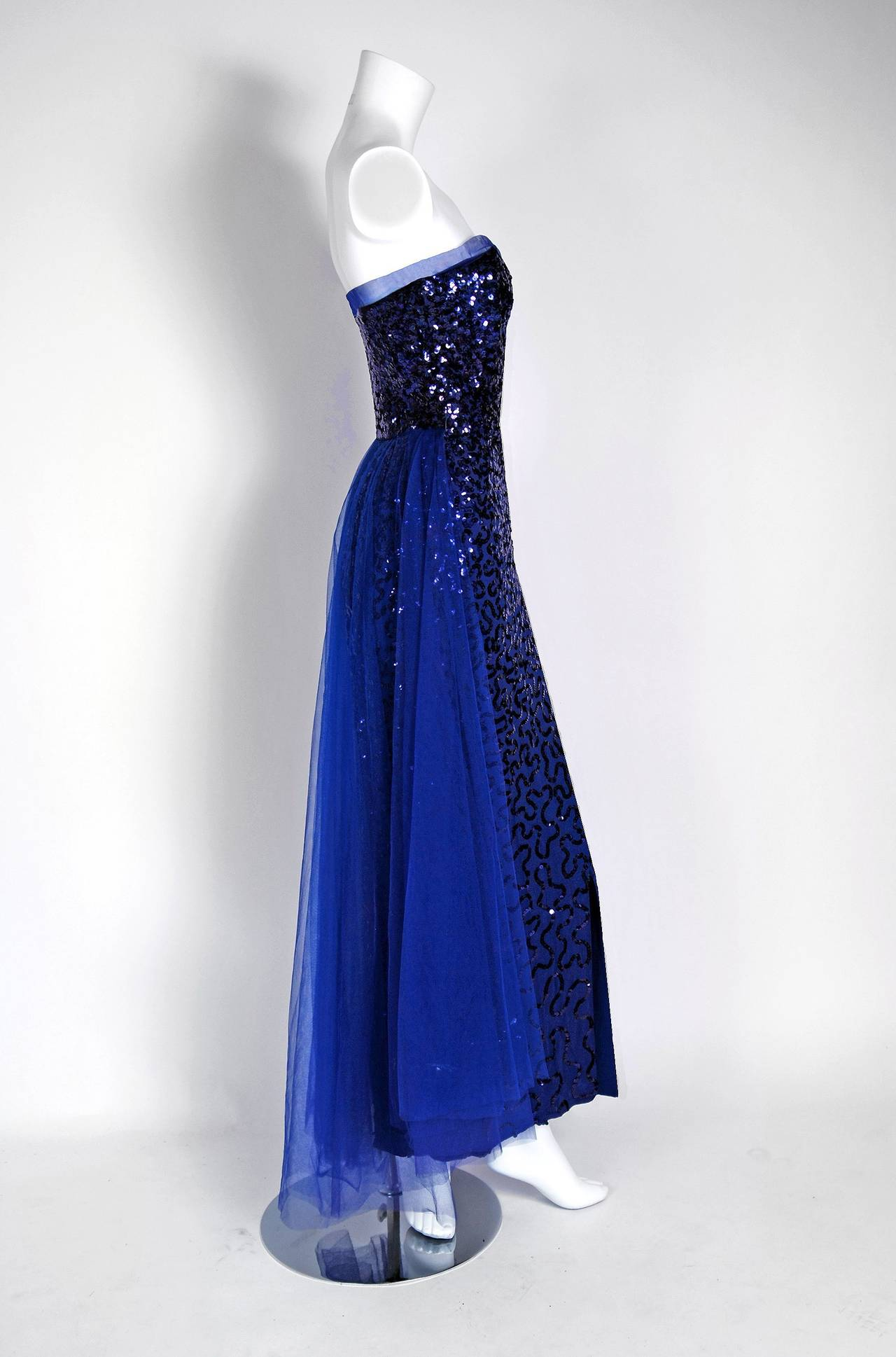 1950's Seductive Royal-Blue Sequin Rayon-Crepe Strapless Trained Evening Gown 4