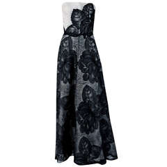 1951 Hattie Carnegie Black & White Lace Illusion Asymmetric Strapless Gown