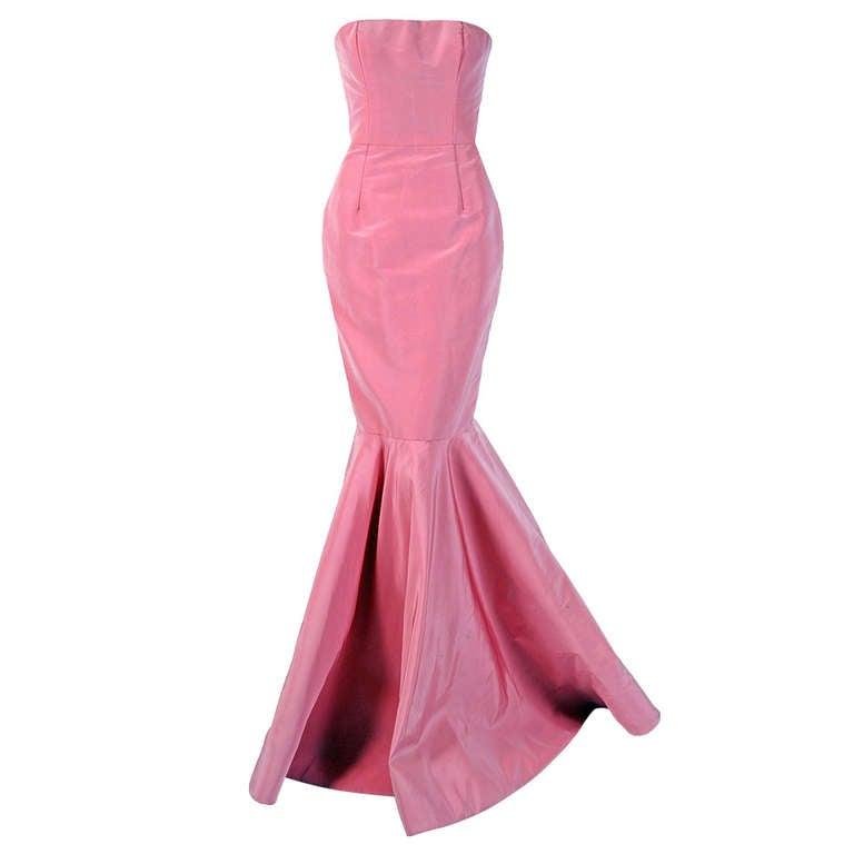 2011 Oscar de la Renta Pink Silk Strapless Hourglass Fishtail Mermaid Gown 1