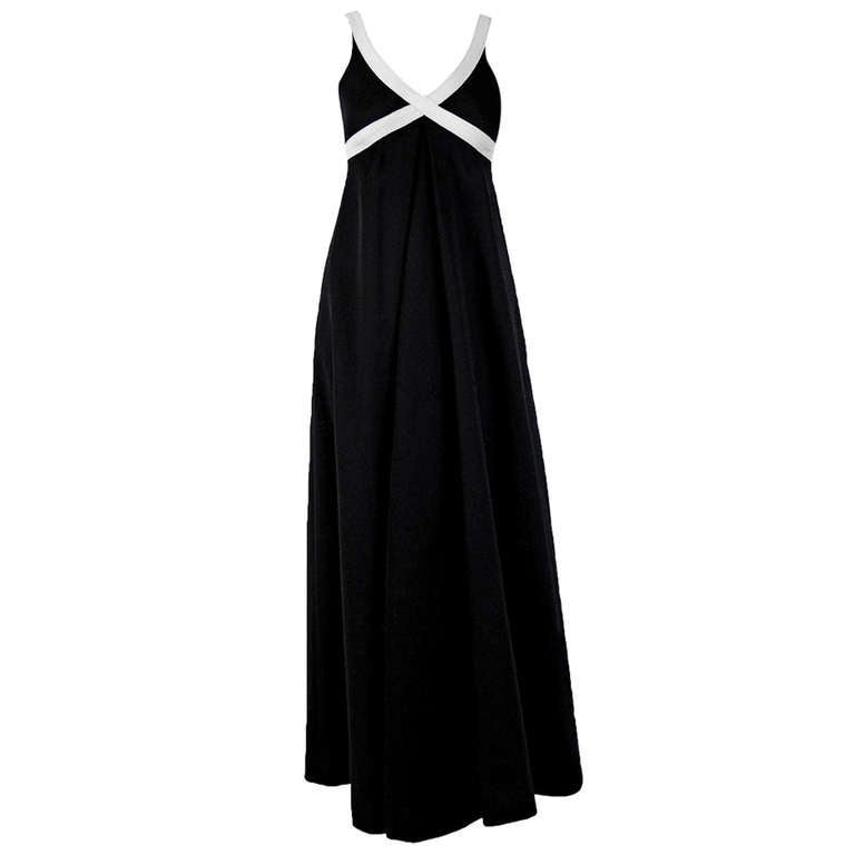 1960's Rudi Gernreich Iconic Cross Your Heart Black White Maxi Dress With Tags