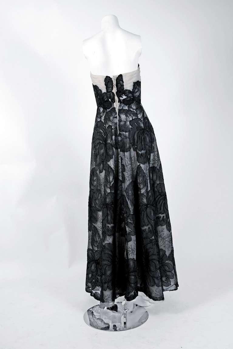 1951 Hattie Carnegie Black & White Lace Illusion Asymmetric Strapless Gown 6