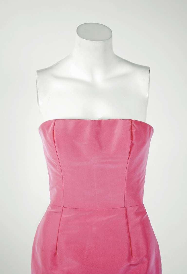 2011 Oscar de la Renta Pink Silk Strapless Hourglass Fishtail Mermaid Gown 3