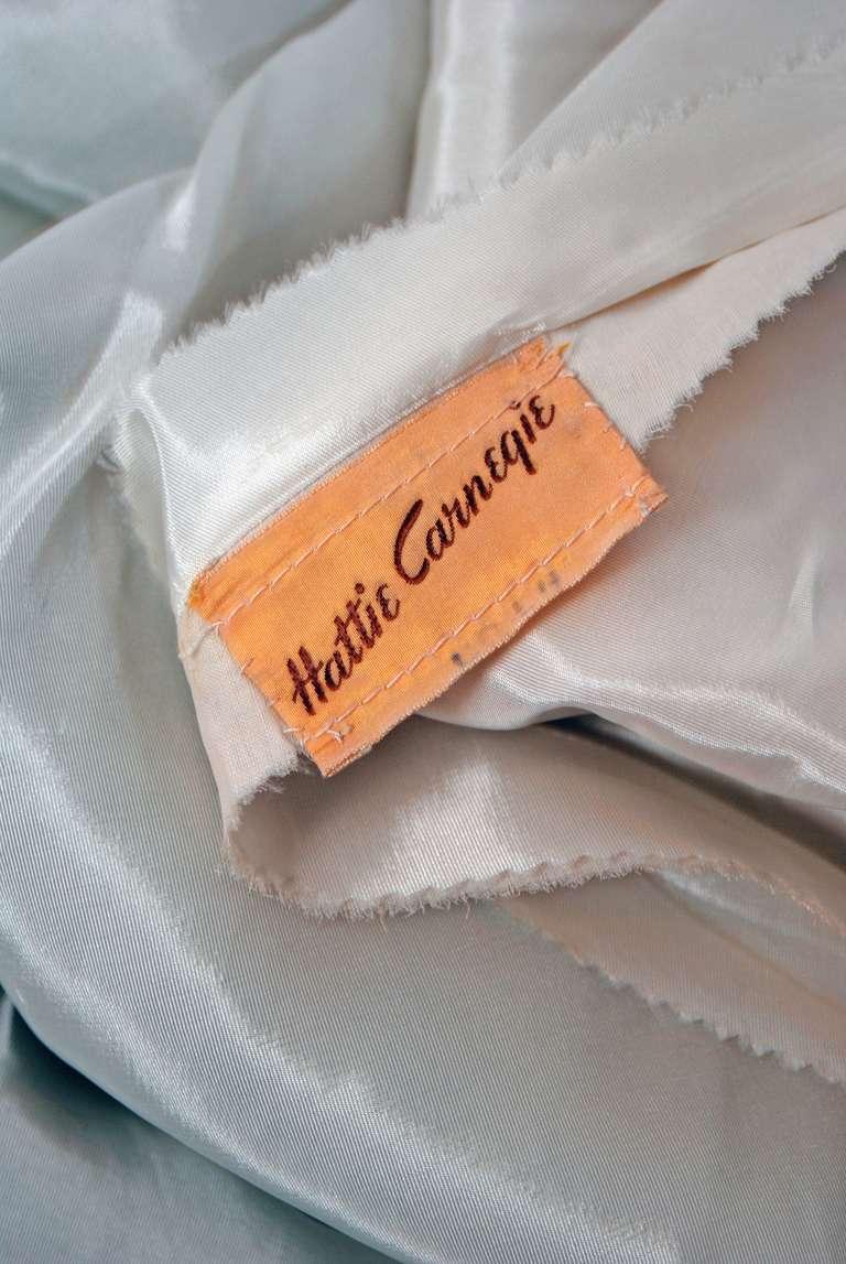 1951 Hattie Carnegie Black & White Lace Illusion Asymmetric Strapless Gown 7