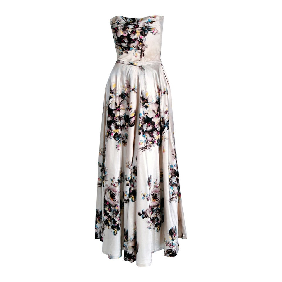 1950's Jeanne Lafaurie Couture Watercolor Floral-Print Satin Strapless Gown